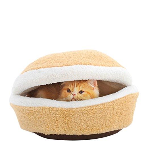 Hengsong Doux Coton Chats Lit Animaux Mat Chien Chat Maison Hamburger Sac de Couchage