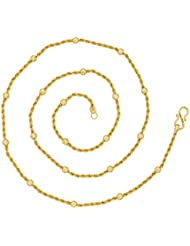 The Jewelbox Rope Ball 22K Gold Plated 24.8 IN Chain For Women