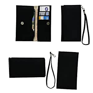 Jo Jo A5 G8 Leather Wallet Universal Pouch Cover Case For Spice S3550 Black