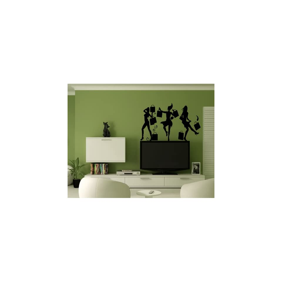 Crazy Shopping Girl Woman With a Bags Wall Mural Vinyl Sticker Decal AL528