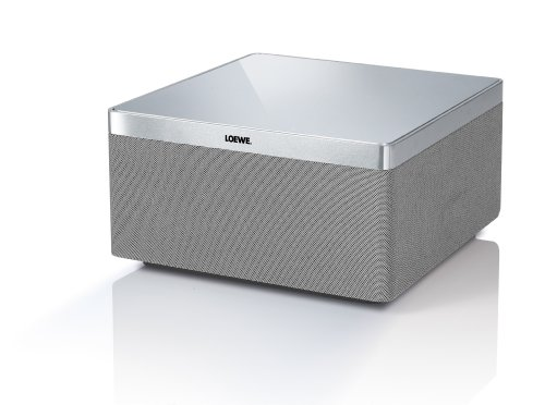 Loewe 51205B00 AirSpeaker Bassreflex Lautsprecher (80 Watt, AirPlay) für Apple iPhone/iPad/iPod, Aluminium/silber