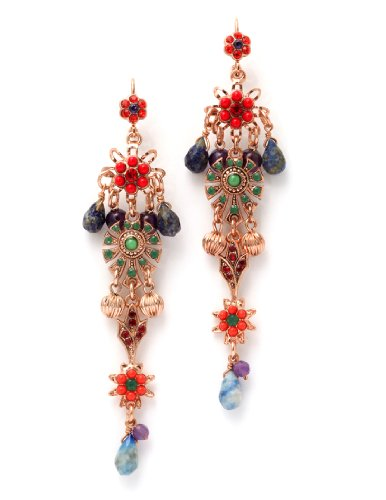 'Motion' Collection Designed by Amaro Jewelry Studio 24K Rose Gold Plated Fabulous Dangle Earrings Garnished with Tear Drops, Abalone, Amethyst, Jade, Lapis Lazuli, Sodalite and Swarovski Crystals