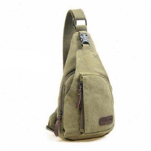 Travel Unbalance Sling Chest Canvas Backpack Hiking Bicycle Shoulder Bag-Navy Green