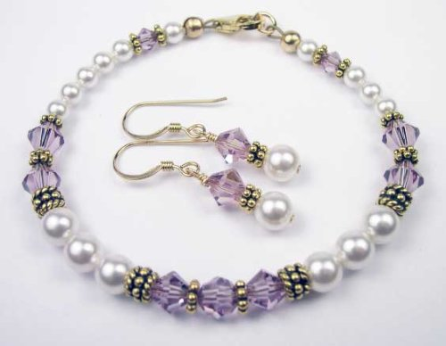 Alexandrite Gold Filled Swarovski Crystal Beaded Pearl Bracelets and Earrings Sets