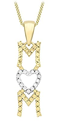 Carissima 9ct Two Colour Gold Diamond Cut 'Mum' Pendant on Curb Chain Necklace 46cm/18""
