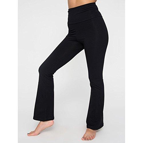 american-apparel-womens-ladies-plain-cotton-spandex-jersey-yoga-bottoms-m-black