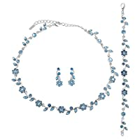 Silver Tone Blue Crystal Accent 3-Piece Necklace Earrings Bracelet Set