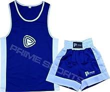 Prime Sports - Conjunto infantil de boxeo (camiseta y pantalón corto, 9 - 10 años), color azul y blanco