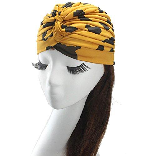 [Women's Fashion Turban Indian Style Head Wrap Cap Hat Hair Cover Headband,Turmeric Cow] (Cow Head Hat Adult)