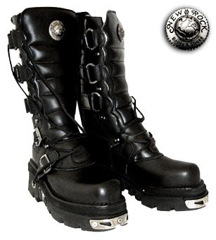 New Rock Boots Style 474 (Black/Silver) - (12 UK)