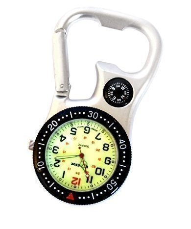 white-silver-clip-on-carabiner-fob-watch-with-compass-for-doctors-nurses-paramedics-chefs