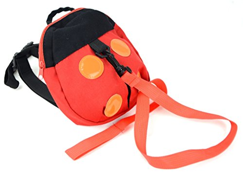 New Kids Toddler Baby Girls Extended Storage Backpack Leash Harness, Red Black Ladybug