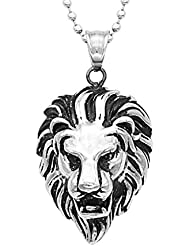 ImportedFashion Mens Stainless Steel Lion Head Pendant Beads Chain Necklace Jewelry