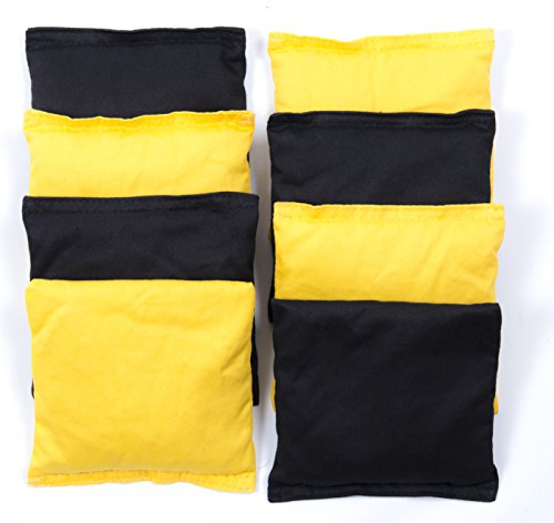 8 Weather Resistant Cornhole Bean Bags. Heavy Duty Cotton Duck Cloth Filled with Eco-Friendly Synthetic Waterproof Plastic Beads. Black & Yellow Color, Game Regulation 6