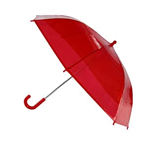 CTM® Kids Clear Plastic Bubble Dome Hook Handle Umbrella, Red