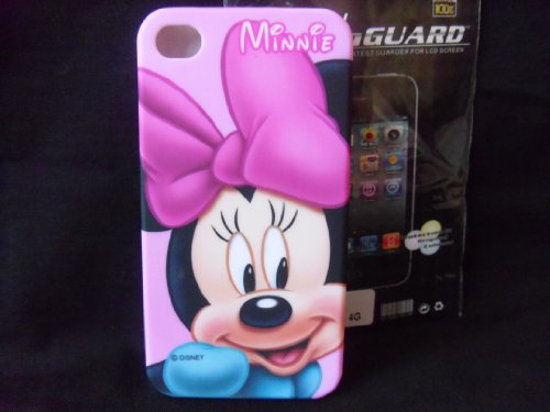 IPHONE 4 4G 4 S designer minnie mouse PINK BOW TIE case cover +FREE SCREEN PROTECTOR + FREE UK DELIVERY UK SELLER