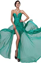 Hot Sale eDressit Hot Pleated Top Beaded Sexy Split Green Evening Party Dress Prom Ball Gown(00120511)