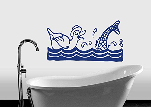 Wall Vinyl Decal Sticker Duck And Fish Art Design Nursery Room Nice Picture Decor Hall Wall Ki241 front-1007670