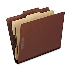 Pendaflex Pressboard Classification Folders, Letter, 4-Section, Red, 10 Per Box,( 1157R)