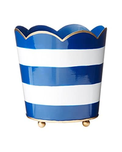 Malabar Bay Horizontal Stripe Decorative Cachepot, Navy