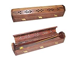JiyaHandicraftsGallery Sheesham Wood Incense Case with holder as well as Dhoop Bati Stand