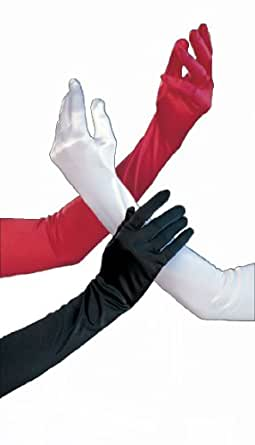 Shirley of Hollywood  Adult Long Satin Gloves, Black, One Size