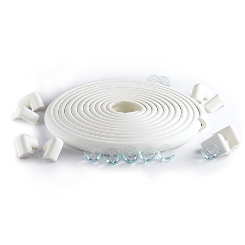 Safe Baby & Child safety edge corner cushion guard Jumbo Bundle 22.1ft/16 Corners. Furniture Babyproofing Protectors. Toddlers Suited Adhesive and Premium 8 Clear Bumpers with Double sided tape. White (Clear 1 2 Bumpers compare prices)