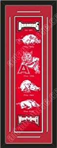 Heritage Banner Of Arkansas Razorbacks With Team Color Double Matting-Framed Awesome... by Art and More, Davenport, IA