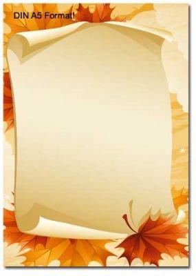 Motivpapier briefpapier herbstbl tter 50 blatt din a5 - Briefpapier vorlagen kostenlos ...