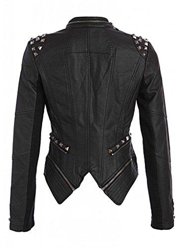 Rocking Cool Black Studded Punk Style PU Faux Leather Slim Fit Moto Jacket,Small