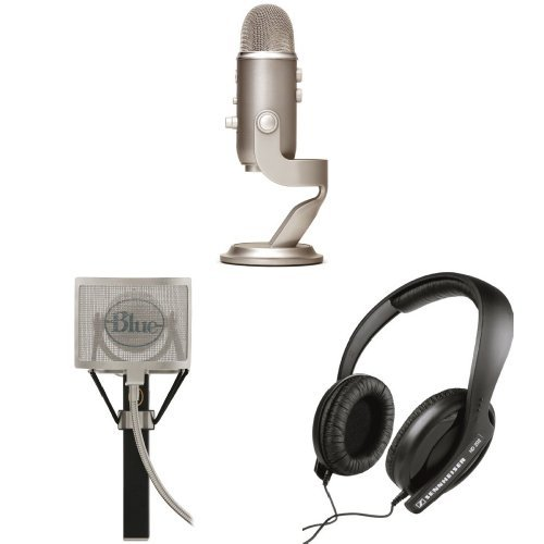 Blue Microphones Yeti Usb Microphone - Platinum Edition With Blue Mics Pop Filter And Sennheiser Hd 202 Ii Professional Headphones
