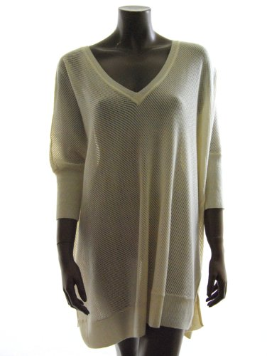 Alice + Olivia womens cream connor v neck caftan tunic top M