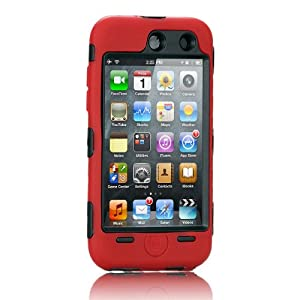 NTK Premium For iTouch iPod Touch 4 4G Silicone Case with Hard Shell Inside Case With Built In Touch Screen Protector Film 2 Layer Case -Red