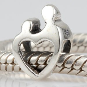 Genuine 925 Sterling Silver Mother And Child Heart Charm Bead & Gift Bag Will Fit Pandora Troll Chamilia Style Bracelets By Truly Charming®