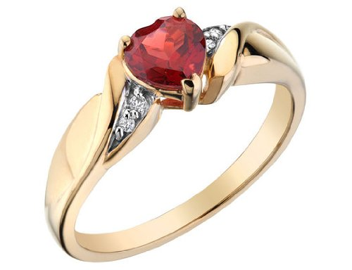 Garnet Heart Promise Ring with Diamonds in 10K Yellow Gold, Size 5.5