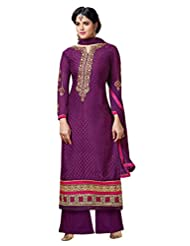 Aarti Saree Women Brasso Straight Suit Trendy Fashionable Party Wear Purple Suit
