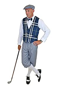 1930s Style Men's Pants Ultimate Knickers Outfit - Grey Knickers Blue Plaid Vest Grey Cap $149.99 AT vintagedancer.com