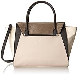 Vince Camuto Addy Satchel Shoulder Bag, Mushroom/Chocolate, One Size