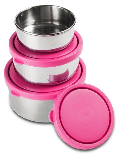 Mira Set Of 3 Stainless Steel Lunch Box And Food Storage Containers, Pink back-80265