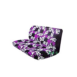 Universal-fit Hawaiian Hibiscus Floral Print Bench Seat Cover - Purple