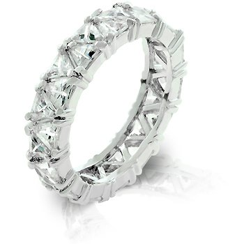 White Gold Rhodium Bonded Eternity Band Featuring Pave Trillion Cut Clear CZ - Size: 5-10, 5