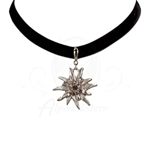Alpenflustern Velvet Choker Elastic with Rhinestone Edelweiss large (black) - Traditional Bavarian Oktoberfest Necklace for Dirndl from Alpenflustern