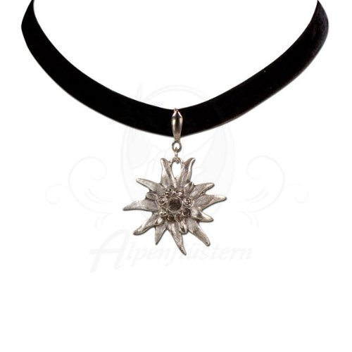 Alpenflustern Velvet Choker Elastic with Rhinestone Edelweiss large (black) - Traditional Bavarian Oktoberfest Necklace for Dirndl