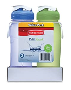 Rubbermaid Refill Reuse, 2 Pack, 20 oz, Green/Blue