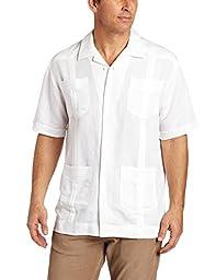 Cubavera Men\'s Short Sleeve Traditional Guayabera Shirt, Bright White, Large