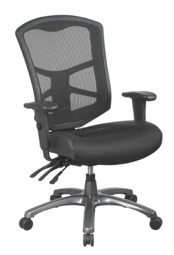Office Star ProGrid Back Leather and Mesh Seat Chair with Titanium Finish Base, Dual Function Control and 2-Way Adjustment Arms