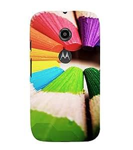 PrintVisa Colorful Pencil Design 3D Hard Polycarbonate Designer Back Case Cover for Motorola Moto E2