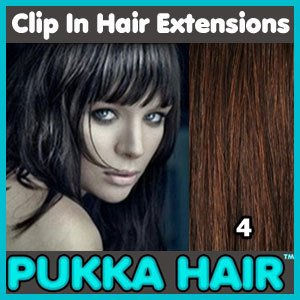20 Inch (Dark Brown #4) Clip In Remy Human Hair Extensions - 8 Piece Set - Full Head - Clips Attached - 110g Weight - Get the Celebrity Lush Look!!