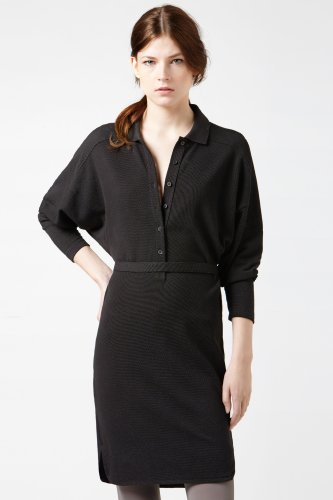 Long Sleeve Supple Pique Button Front Polo Dress