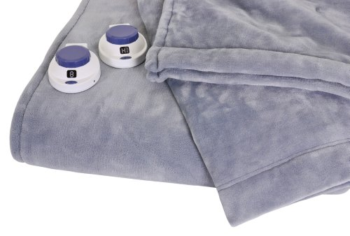 Soft Heat Luxurious Macromink Fleece Low-Voltage Electric Heated Blanket, Queen Size, Blue